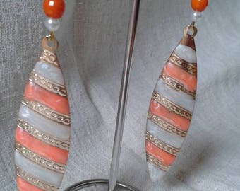 Orange and white striped earrings