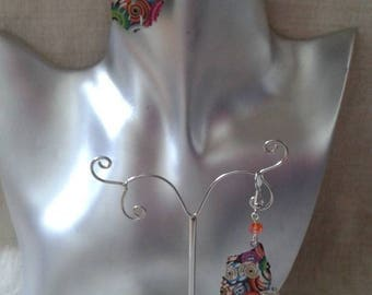 """""""spiral feather"""" earrings multicolored"""