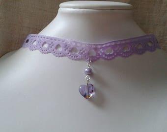"""""""little purple heart"""" Choker necklace"""
