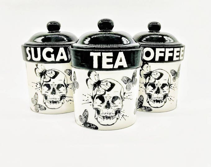 Skull and Butterfly Storage Canisters, Tea Coffee Canister, Sugar Jars, Storage Pots, Ceramic, Container, Kitchen, Hand Painted, Gothic Goth