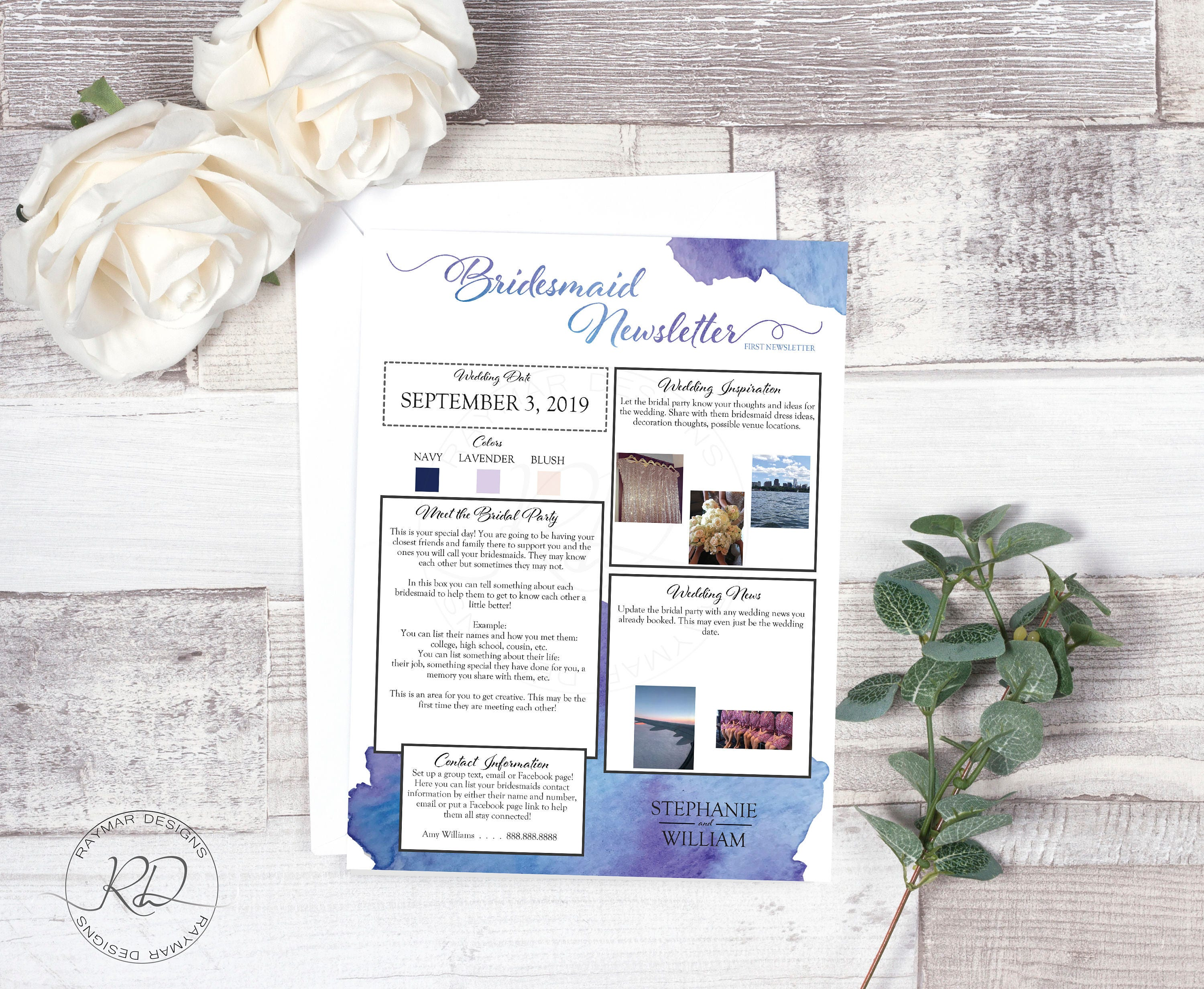 Bridesmaid Newsletter Blue Watercolor Layout 1 Instant
