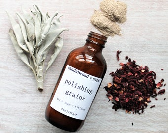 White Sage + Hibiscus Polishing Grains with Clay (4oz) // cleansing grains // cleansing grains // buffing grains // detoxifying grains