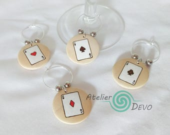 Playing cards glass markers (4), wooden glass tags, wine glass tags, ace glass markers, glass identifiers, hostess gift, woodburning