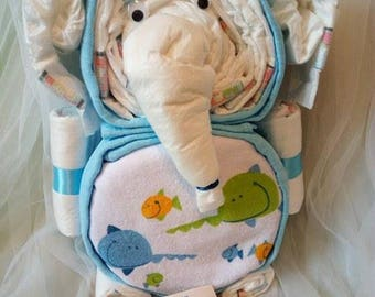 Diaper cake * elephant * gift for the birthday/birth/baptism/baby party
