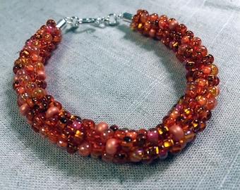Kumihimo Bracelet:  Orange