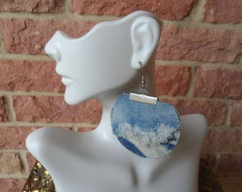 Upcycled distressed tie dye, blue jean ,denim dangle earrings