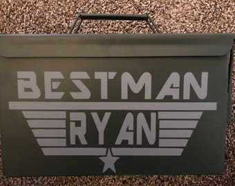 Custom made groommen decals for ammo container, includeds ammo container!