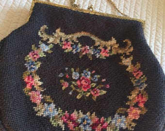 Vintage Custom Made Needlepoint/Pettipoint Purse