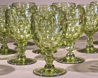Lot/Set Imperial Glass Ohio Olive Thumbprint Water Goblets Sherbet Glasses 13 Plus Two Others