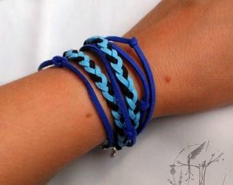 Blue bracelet leather tireta. Double bracelet.