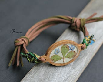 wooden bracelet with real flowers, resin jewelry