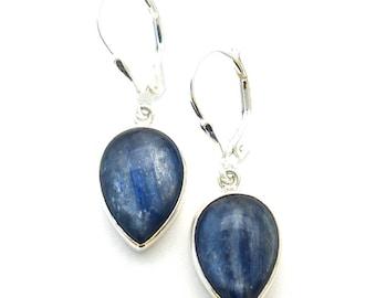sterling silver tear drop Kyanite Earrings