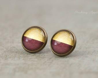 Earrings violet and gold - dip dye, 12 mm, hand-painted, minimalist earrings