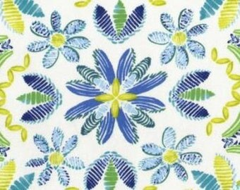 tissu PATCHWORK motif ikat bleu turquoise DEARSTELLADESIGN