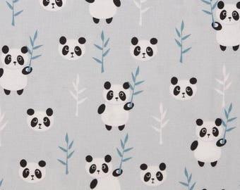 Kids gray cotton fabric with pandas OEKO TEX