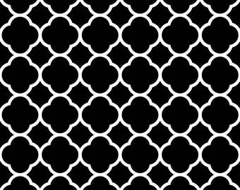 black and white patchwork fabric cotton American quatrefoil