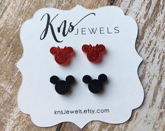 Mickey and Minnie Mouse, Disney Earrings, Mickey Earrings, Minnie Earrings, 10mm, Disney