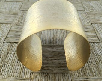 Handmade Textured Copper Bracelet Platted in 18k Gold