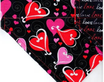 Looped Hearts/Love | Valentine Day Dog Bandana | Dog Bandana | Puppy Bandana | Pet Bandana | Over the Collar Bandana