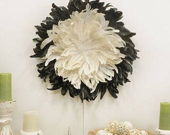 Decorative Feather Wall Art - WHD24--BE-BL