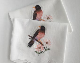 Pair of vintage embroidered guest towels