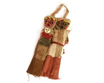 Peru Indigenous Folk Dolls, Ancient Chancay Art, Burial Rag Dolls, Holy Family Doll, Parents with Baby, Native American Ethnic Textile Dolls