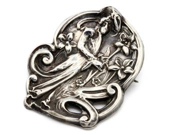Art Nouveau Brooch, Antique 1900s Jewelry, Sterling Front Pin, Woman With Flowers, Victorian Jewelry, 925 Sterling Silver, Fantasy Jewelry