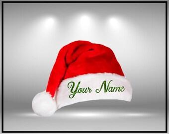 Santa Hat Customize Santa Hat  Personalized Santa Hat Your Text Here Xmas Hat Your  Name Hat Custom Family Name Santa Hat