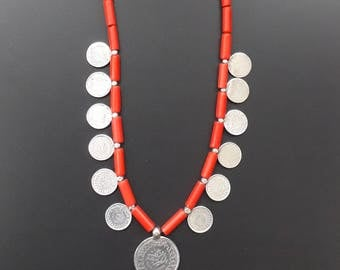 striking necklace of silver King Farouk of Egypt coins with red glass beads from Portugal