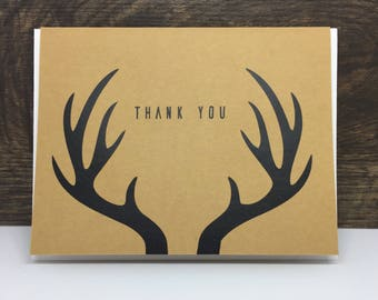 Rustic Thank You Cards. Antler Thank You Card. Kraft Thank You Card.  Elegant Thank You Card. Rustic Wedding Stationary. Rustic Card Set.