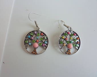 Green and salmon tree of life earrings
