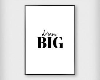 Dream Big Print | Kids | Green - White - Black - Peach | Children - Nursery - Poster