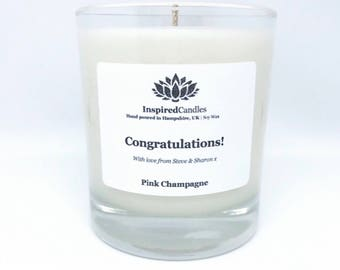 Congratulations Candle, Personalised Candle, Scented Candle, Candle Gift, Soy Wax Candle, Vegan Candle, Hand poured Candle