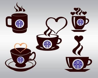 Coffee cup monogram SVG Clipart Cut Files Silhouette Cameo Svg for Cricut and Vinyl File cutting Digital cuts file DXF Png Pdf Eps