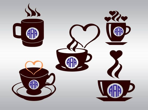 Download Coffee cup monogram SVG Clipart Cut Files Silhouette Cameo Svg