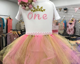 Princess first birthday tutu set pink and gold crown