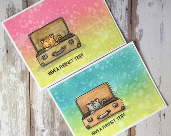 2 in 1, good luck , for your trip, cat, cut, Colourful , greeting card , hand made , distress  ink , water colors , color pencil , folding