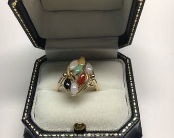 Vintage Multicolor Jade and 14KT Ring