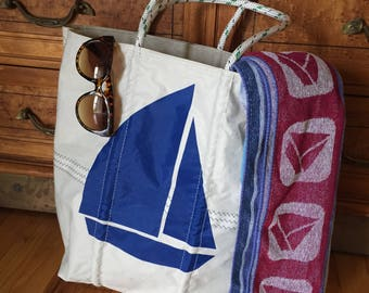 Sail Tote Bag - Blue Sailboat - Beach Bag - made with Re-used Sailboat Sails - Reusable grocery bag