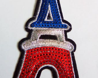 Fusible applique eiffel tower fabric iron 94x42mm