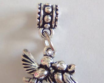 2 beliered 27x19mm silver bird charms