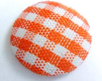 Cabochon fabric orange gingham 14mm