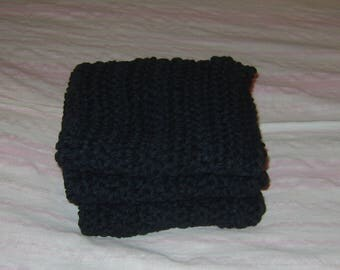 Hand Crocheted MIDNIGHT BLACK 100% Cotton Dishcloths / Washcloths - 10 1/4 inches square - Set of 3