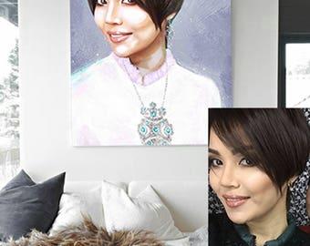 Custom portrait from photo, digital portrait, digital painting, realistic painting, printable digital file