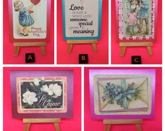 Valentines cards small valentines gift cards or gift tags cute retro kitsch Victorian hearts roses floral love cards someone special