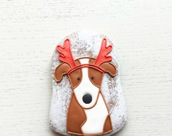 Cookies Christmas, Santa Dog Moose Gingerbread Santa Dog