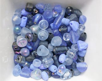 Assorted beads Indian blue mix glass