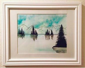 Tree lake green forest watercolor original painting reflection wall art home decor