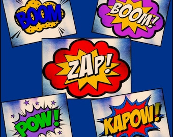 Comic book Words - Speech Bubbles - Text Balloons - Comic Book Embellishments made for Cricut and Silhouette