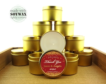 12 ct Gold and red wedding favors, 4 oz tin candles, personalized soy candles, gold confetti and red design, bridal shower favors